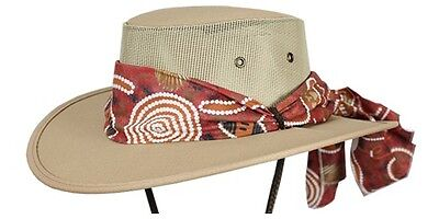 Barmah Canvas Drover Ladies Cooler Hat with Chin Cord and Aboriginal Scarf