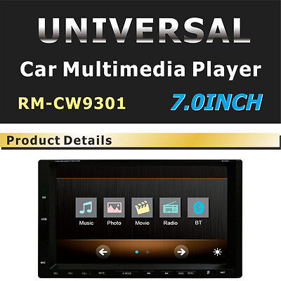 Universal 2 DIN 7 inch Touch LCD Car Stereo FM Bluetooth MP3 MP4 CD DVD Player
