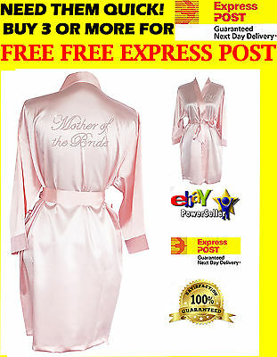BLUSH Satin Personalised Bride Bridesmaid Robes Bridal Party Robes Wedding Gown