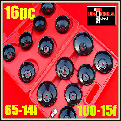 """Oil Filter Wrench Removal Puller Set 16pc CupType Tool Kit Adaptor 3/8"""" &1/2"""""""