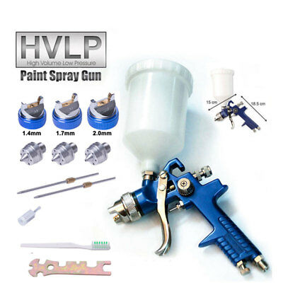 Gravity Feed HVLP Paint 600ml Spray Gun 3 Nozzle Nitto Fitting Low Pressure AU