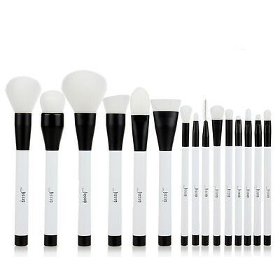 Jessup 15Pcs Pro Makeup Brushes Cosmetic Foundation Make Up Brush Set White US