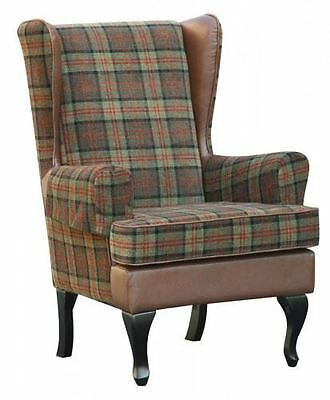"Stirling Tartan High Back Chair Orthopedic Fireside Arm Chair - 20""/22"" Height"