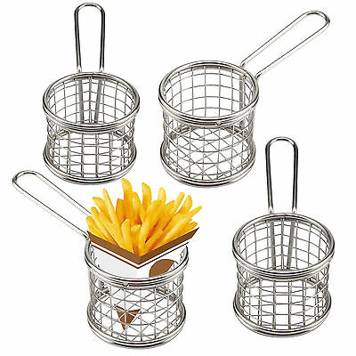 Set of 4 Mini Chip Baskets Mini Fryer Serving Food Holder Presentation Kitchen