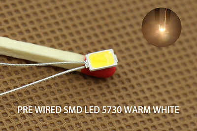 T5730WM 20pcs Pre-soldered micro litz wired leads Warm White SMD Led 5730 NEW