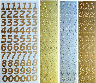 LARGE NUMBERS Peel off Stickers 18mm Card Making Gold Silver White Multi Copper