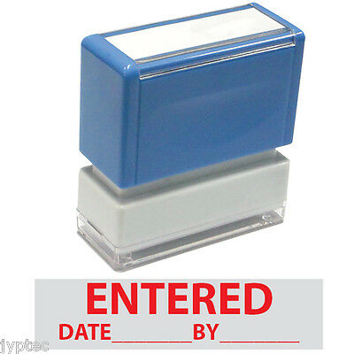 """ Entered, Date, By ""  JYP PA1040 Pre-Inked Rubber Stamp Red Ink"