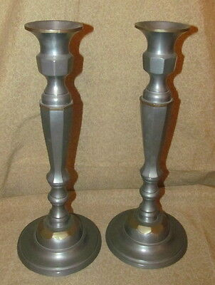 Pair Old or Antique Chinese Pewter Paktong Candlesticks