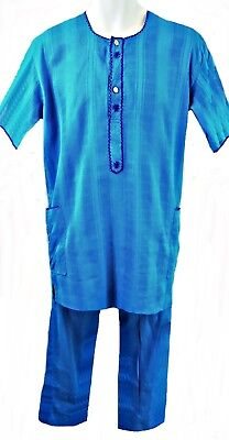 "Handmade Turquoise Short Sleeve Tunic & Matching Trousers, 36-38"" Chest, Tr086"