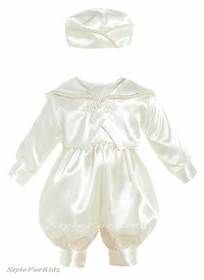 5a7146397 Baby Boys Christening Romper,suit,outfit Ivory/white Special Occasion Wear