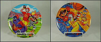 Lot of 2 2002 McDonald's Sports Theme Plates Basketball Football Grimace Ronald