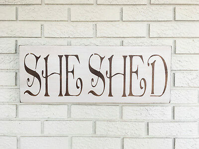 "Large Rustic Wood Sign - ""She Shed"" Distressed  Woman cave Brown"