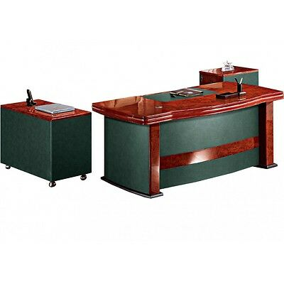 Senato - DES-6839 Curvy 3 Piece Executive Office Desk Set in Burr Walnut Finish