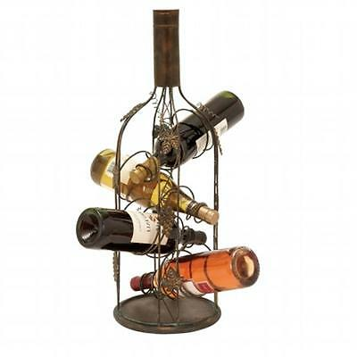 EcWorld Enterprises Urban Designs Bottle Shaped Metal Wine Rack 4 Bottle Display • AUD 136.18