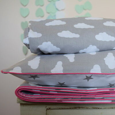 100%COTTON Cot Bed Duvet Cover Set Girls Grey Stars Clouds pink piping