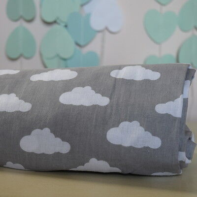 Cot Bed Fitted Sheet 100% COTTON Grey White Clouds  Bedding