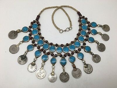 2 Layer Afghan Turkmen Round Blue Turquoise Inlay Coins ATS Statement Necklace