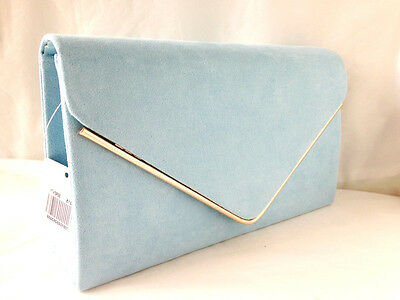 New Pale Powder Blue Faux Suede Evening Day Clutch Bag Wedding Club Party Prom