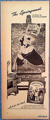 1946 Springmaid Clayton Knight Drawing Man Laying Roof Maid Pours Water ad