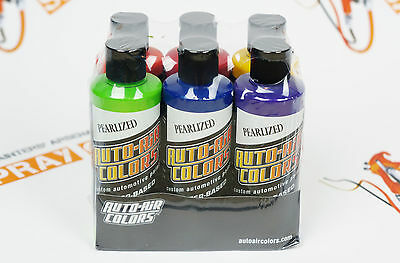 Createx Auto-Air Essential Pearlized Colors Set 6 colors 4oz each airbrush paint