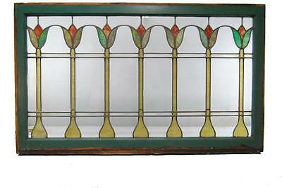"Large Arts & Crafts Tulip Stained Glass Window 48"" Transom"