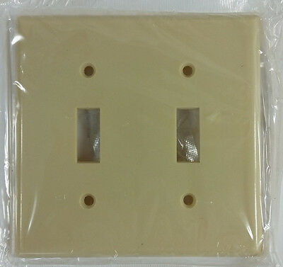 Lot of 22 Leviton Ivory Two Gang Toggle Wall Switch Outlet Cover 001-86009