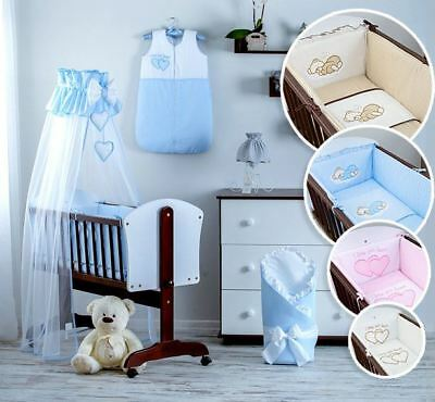 8 PCS NURSERY CRIB BEDDING SET 90X40 cm WITH CANOPY AND ALL ROUND BUMPER