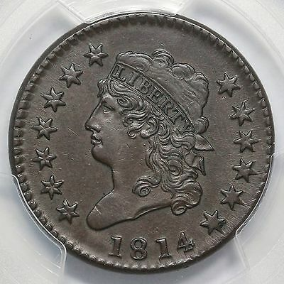 1814 S-294 PCGS AU 50 Crosslet 4 Classic Head Large Cent Coin 1c