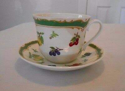1998 Roy Kirkham Jumbo Cup & Saucer Heritage Fruit Pears Peaches Grapes Flowers