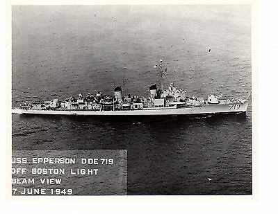 1949 USS Epperson DD719 Destroyer Navy Ship Official Photograph 8x10 BW Boston