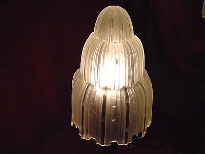 "Large 23"" Art Deco Marius SABINO Glass Cascade Waterfall Shade Table Lamp Light"
