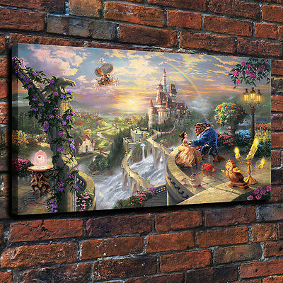 HD Print Disney Beauty and the Beast falling in love Art painting canvas 24x36