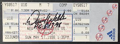 David Wells Signed Perfect Game Yankees Ticket pg May 17 1998 Ins RARE Auto COA