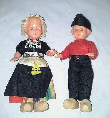 Pair of Dutch Kids Celluloid Dolls Holland Pin Felt Wool Clothes Antique Jointed