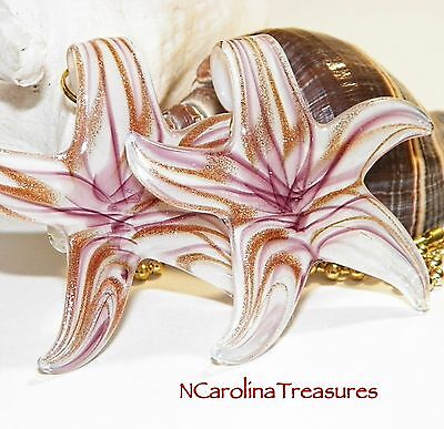 Star Starfish Purple Gold White Glass Ceiling Fan Light Switch Pull Lg Pair S711