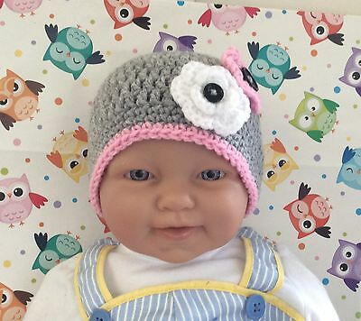 Grey CROCHET BABY BEANIE  With pink & white flowers - months made in Australia