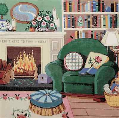 NEEDLEPOINT HANDPAINTED Canvas Sandra Gilmore LIBRARY Books Hearth Fireplace
