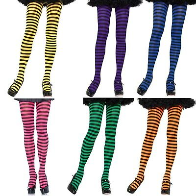 Stripe Tights Pantyhose Black Pink Yellow Blue Green Orange Purple Bee Witch