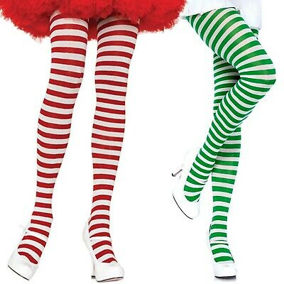Stripe Tights Pantyhose White Green Red Adult Christmas Elf St Patricks Day