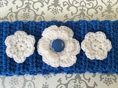 Blue crochet BABY EARWARMERS  with flowers  and button Made in WA