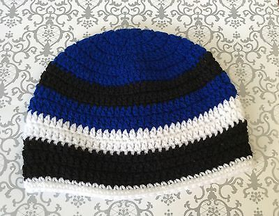 FOOTY COLOURS - CHILDS CROCHET BEANIE - royal blue black and white -  3 - 5 yrs