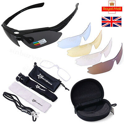 New ROCKBROS Polarized Cycling Glasses Bike MTB Sports Sunglasses 5 Lens Goggles