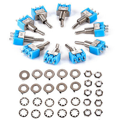 10pcs Mini MTS-102 3-Pin SPDT ON-ON 6A 125VAC Miniature Toggle Switches Blue