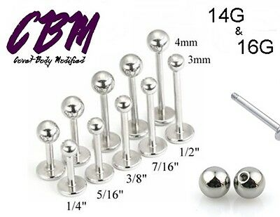 14g 16g Stainless Steel Labret Lip Monroe Cheek Tragus Ring Stud Silver Piercing