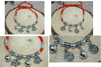 2 PCS Handmade Feng shui Coin Elephant bracelet for Wealth Luck