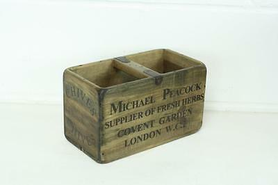 Vintage Wooden Herb Crate Trug Box Industrial Planter S39 Chives Covent Garden