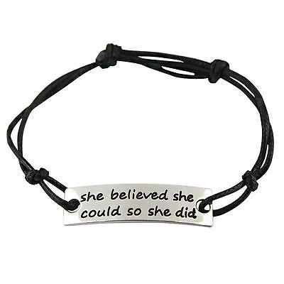 Bracelet New She Believed She Could So She Did Inspirational Women Charm Leather
