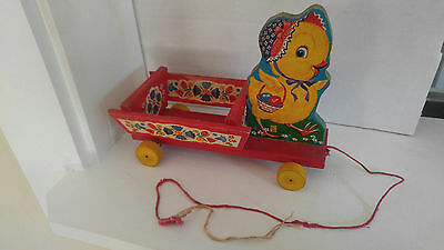 Vintage 1954 Fisher Price Chick Cart Pull Toy 400