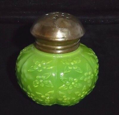 "Antique Shaker:Green Textured Fig-Shaped Glass w/Metal Top.  2.75""T.  1870s"