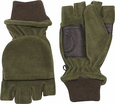 Green Fleece Warm Shooters Hunting Trigger Mitts Mittens Fingerless Gloves